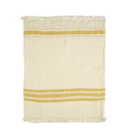 "Mustard Stripe Belgian Linen Towel/Throw 43""x71"""