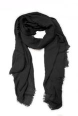Lightweight Frayed Scarf - Black