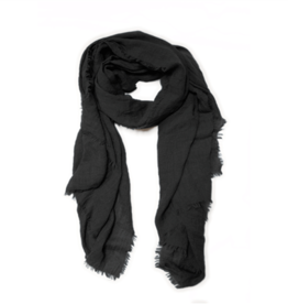 Lightweight Frayed Scarf - Black