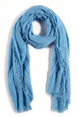 Lightweight Frayed Scarf - French Blue