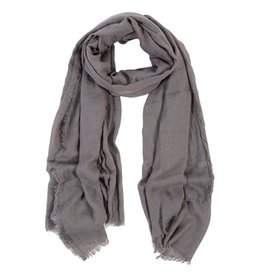 Lightweight Frayed Scarf - Smoke