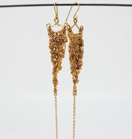 MOSS FOLLOWS Small Gold Chain Triangle Earrings