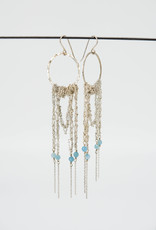 MOSS FOLLOWS Large Hoop Earring With Sliver Chain and Aquamarine
