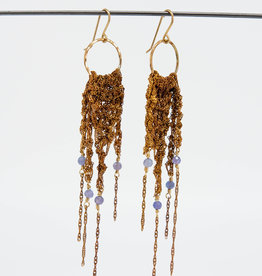 MOSS FOLLOWS Small Hoop Earring with Brass Chain and Tanzanite