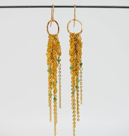 MOSS FOLLOWS Small Hoop Earring With Gold Chain and Green Ruby Zoisite