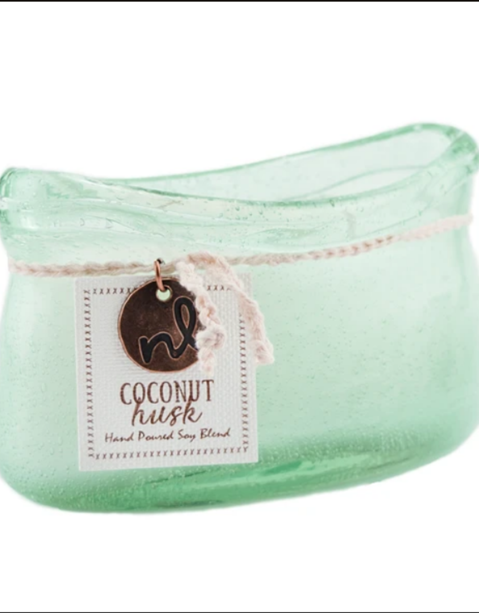 Coconut Husk Glass Boat Candle