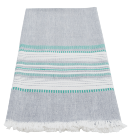 Slate with Teal Chambray Dishtowel