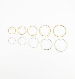 STONELEAF Hammered Gold Hoop Earring