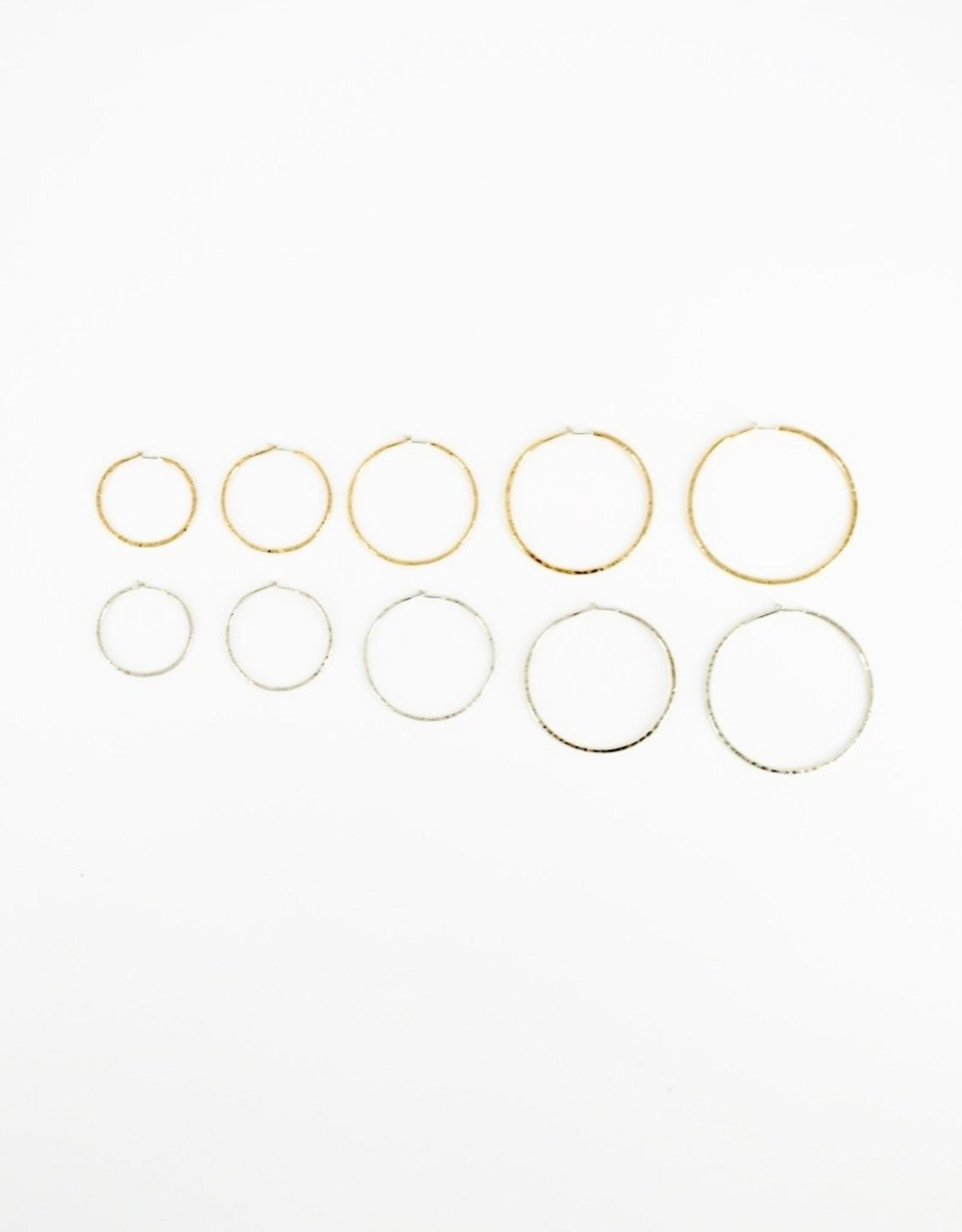 STONELEAF Hammered Gold Hoop Earring