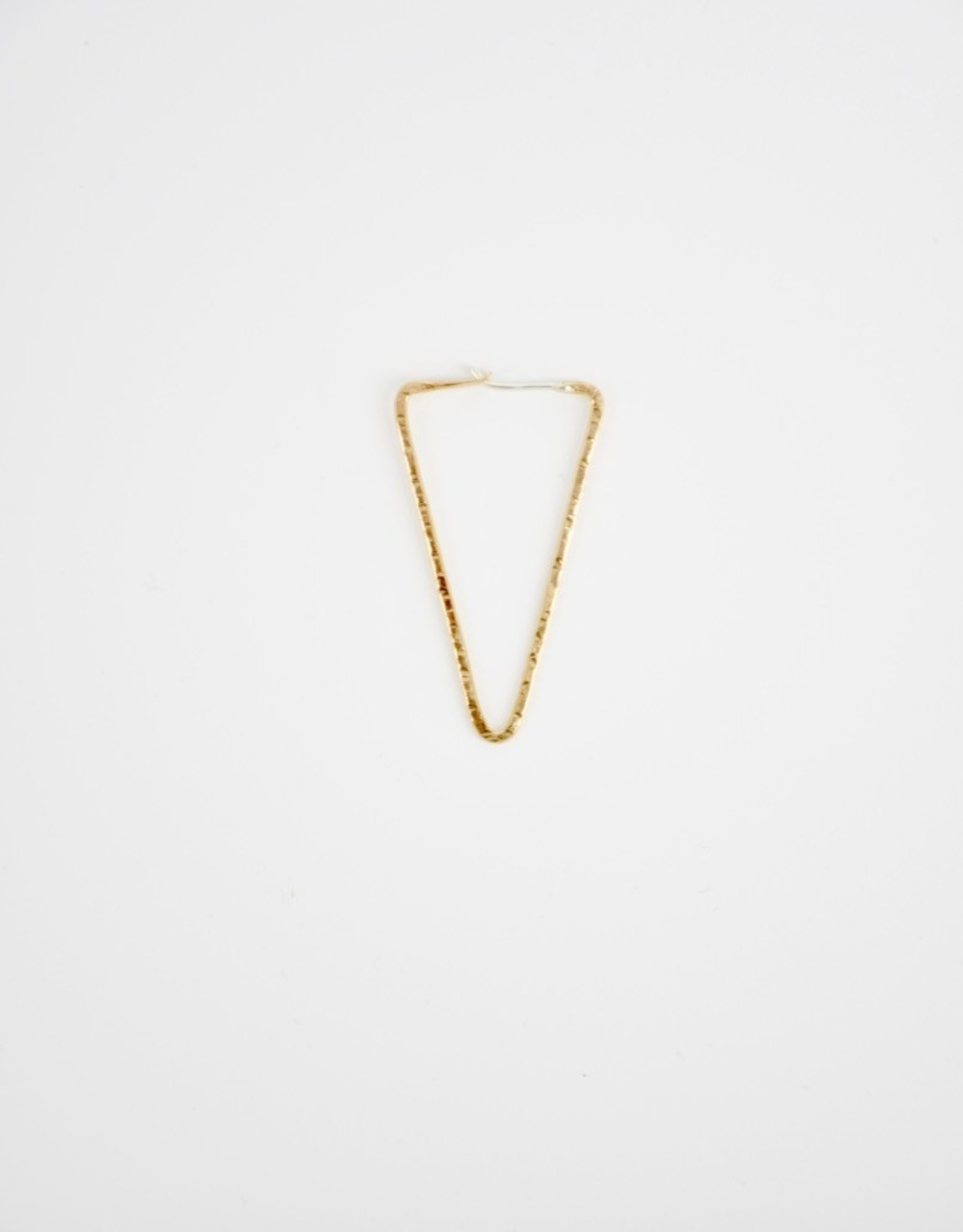 STONELEAF Hammered Gold Triangle Hoops