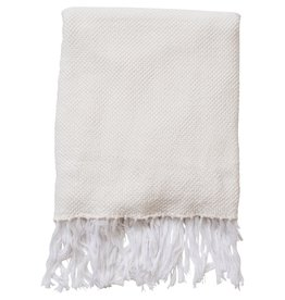 White Knit Throw Blanket