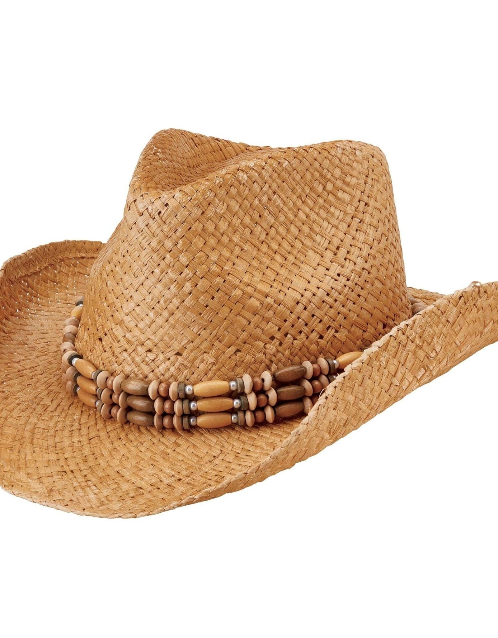 SAN DIEGO HAT Woven Raffia Cowboy Hat with Beaded Band