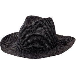 SAN DIEGO HAT Pinched Crown Crocheted Raffia Fedora - Black