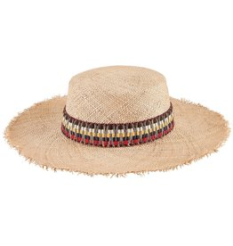 SAN DIEGO HAT Bao Straw Boater with Striped Band