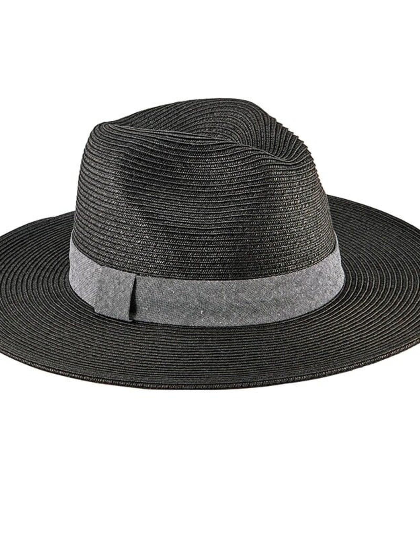 SAN DIEGO HAT Ultrabraid Fedora with Chambray Band - Black