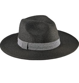 SAN DIEGO HAT Ultrabraid Fedora with Chambray Band - Black