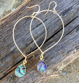 Gold Teardrop Hoop With Abalone