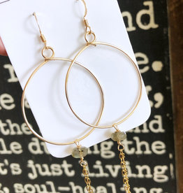 Gold Hoop With Labradorite and Chain