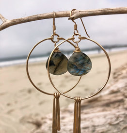 Gold Hoops With Labradorite and Spikes