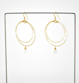 Gold Double Circle Hoops With Moonstone