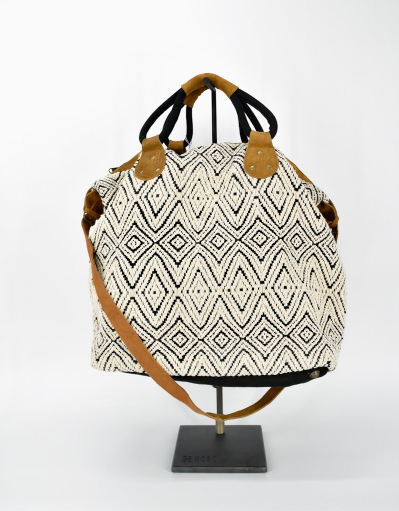 SAN DIEGO HAT Dhari Diamond Black & Natural Weekender Bag