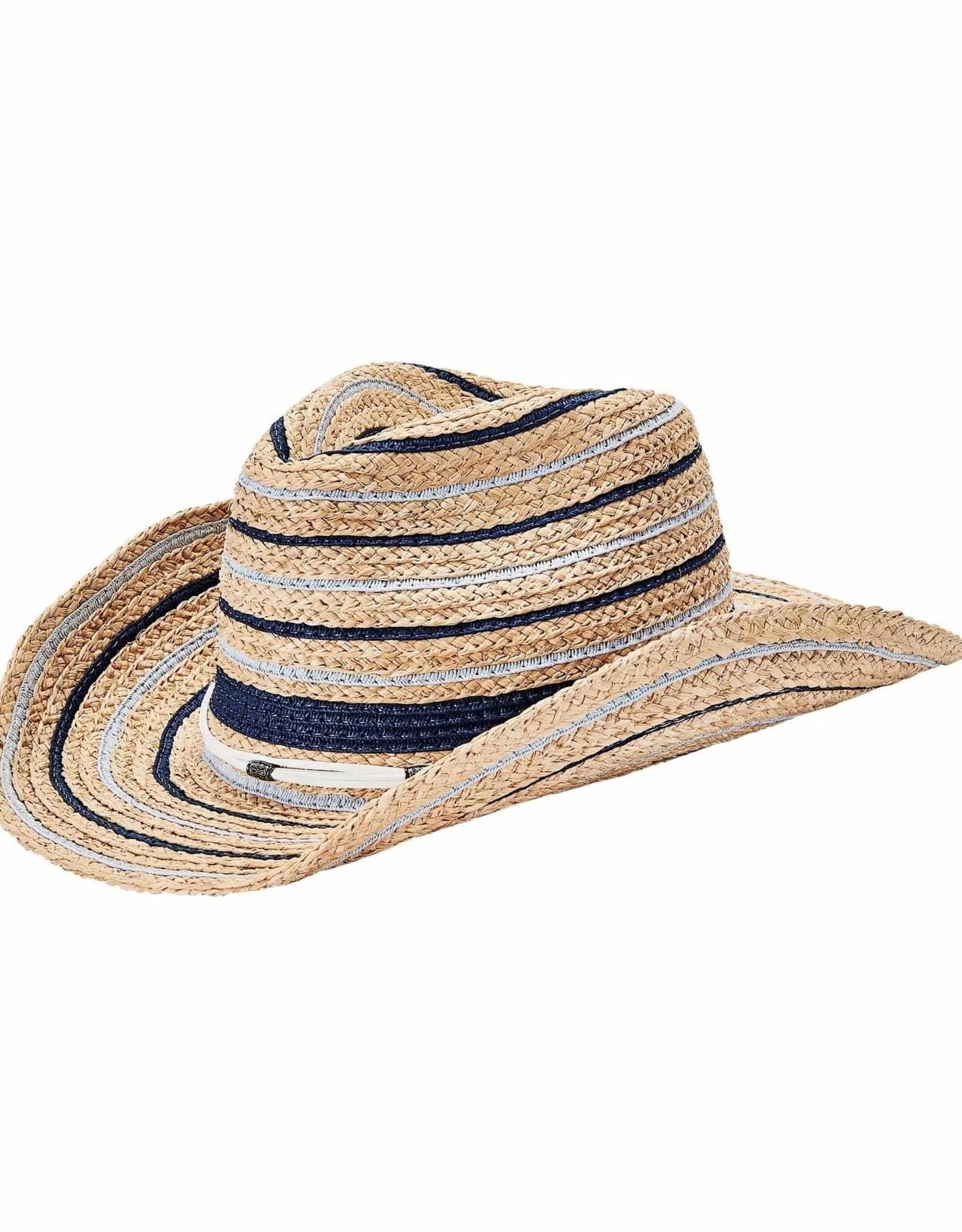 SAN DIEGO HAT Woven Raffia Cowboy Hat with Blue Stripes