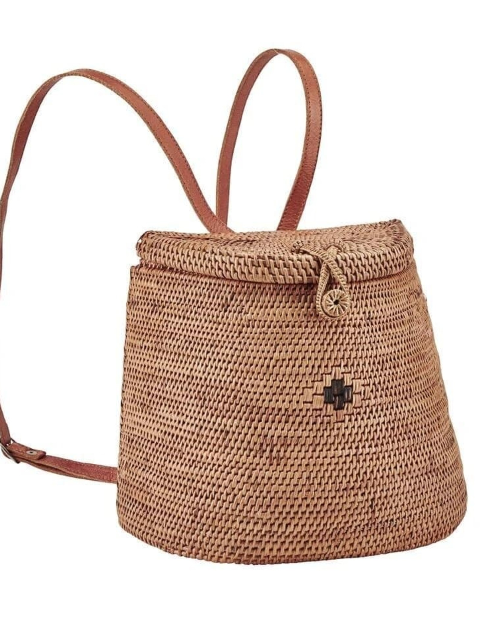 SAN DIEGO HAT Handwoven Reed Basket Backpack with Leather Straps