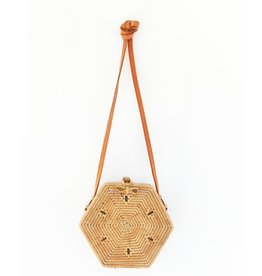 SAN DIEGO HAT Handwoven Reed Hexagon Bag with Leather Strap