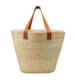 BASKET PALM STRAW LEATHER HANDLE CARRYALL NATURAL