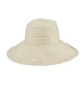 SAN DIEGO HAT Raw Edge Ribbon Sun Hat - Ivory