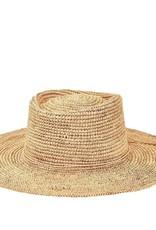 SAN DIEGO HAT Crocheted Raffia Oval Crown Sunbrim Hat - Natural