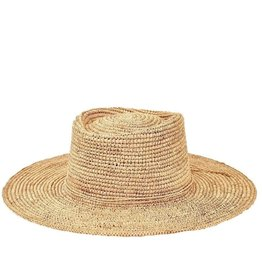 SAN DIEGO HAT Crocheted Raffia Oval Crown Sunbrim Hat - Natural