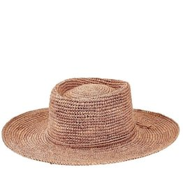 SAN DIEGO HAT Crocheted Raffia Oval Crown Sunbrim Hat - Nougat