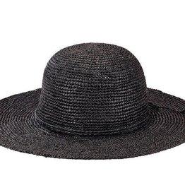 SAN DIEGO HAT Crocheted Raffia Round Crown Sunbrim Hat - Black