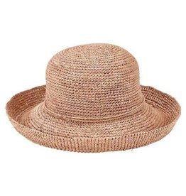 SAN DIEGO HAT Crocheted Raffia Round Crown Sunbrim Hat - Nougat