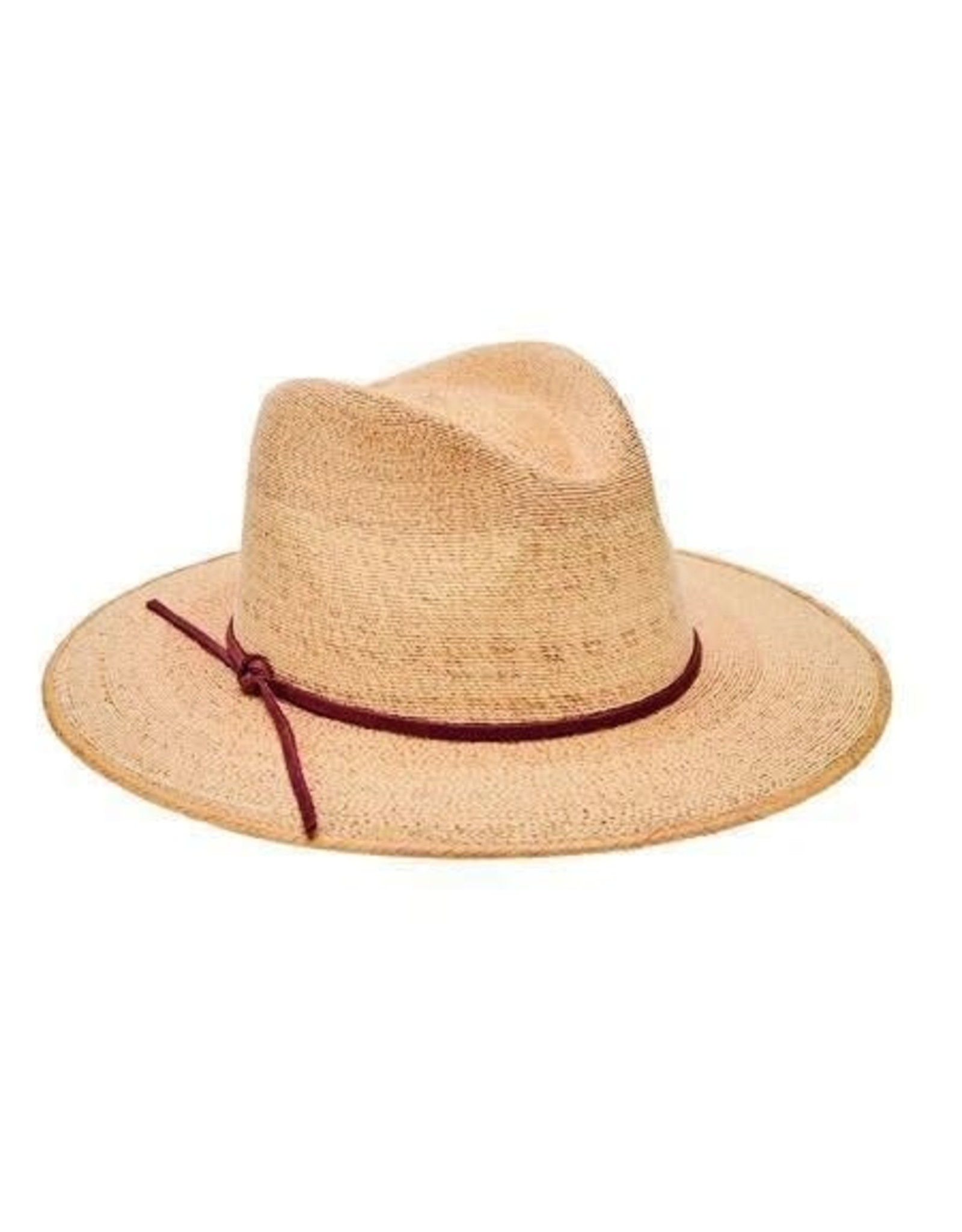 SAN DIEGO HAT Palm Straw Fedora with Leather Trim