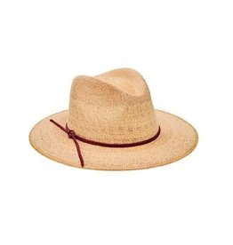 SAN DIEGO HAT Palm Straw Fedora with Leather Trim