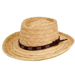 SAN DIEGO HAT Raffia Gambler with Faux Leather Band - Large