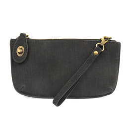 JOY SUSAN Faux Linen Clutch - Black