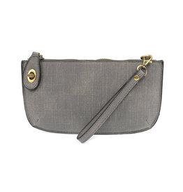 Faux Linen Clutch - Grey