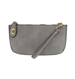 JOY SUSAN Faux Linen Clutch - Grey