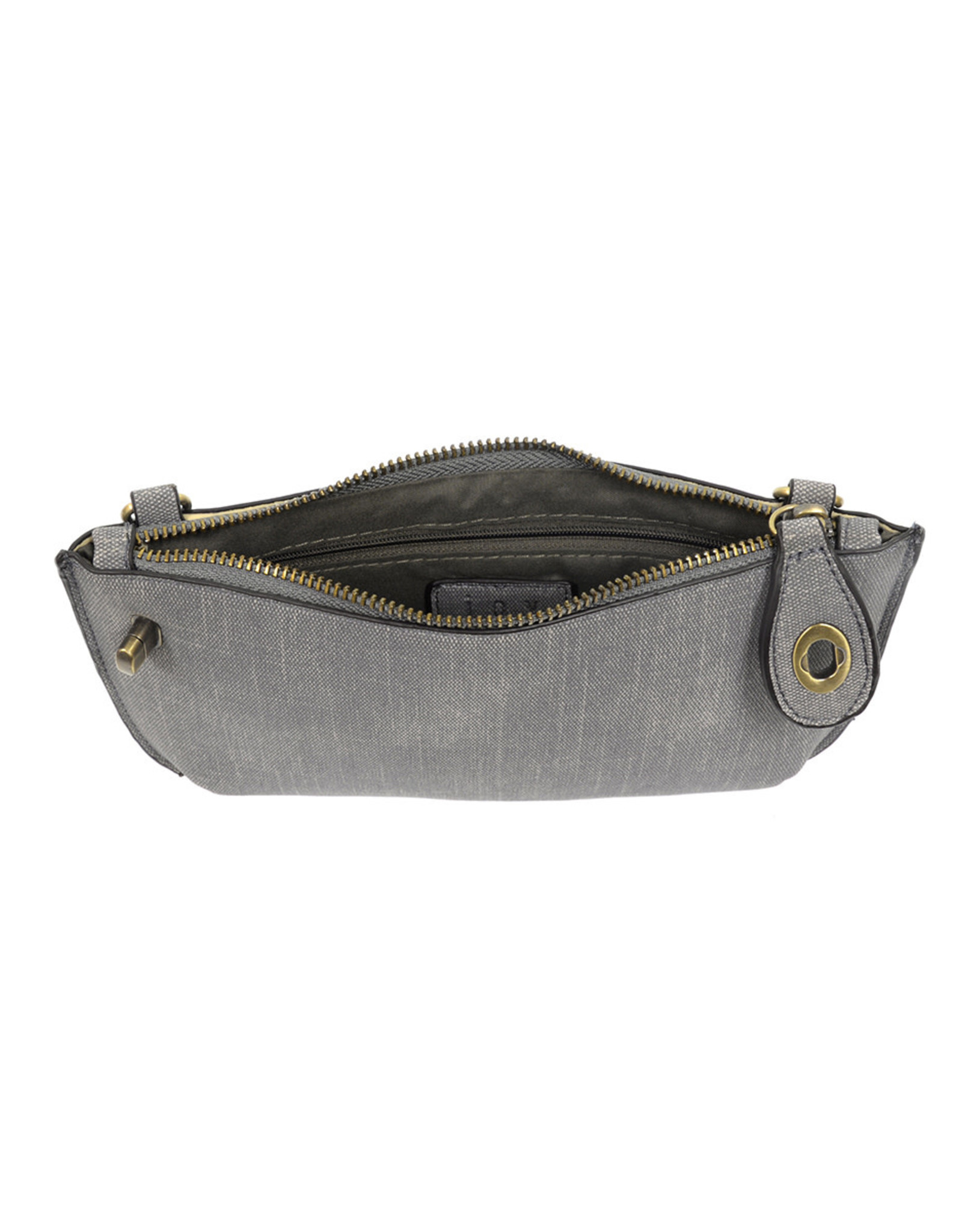 Faux Linen Clutch - Grey