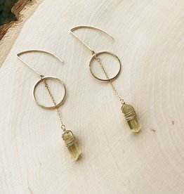 CRYSTAL AND GOLD EARRING FULL MOON GOLD CIRCLE WITH CHAIN DANGLE WIRE WRAP DROP GOLDEN APATITE
