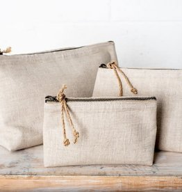 Linen Cosmetic Bag - Large Natural