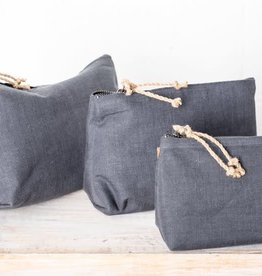 Linen Cosmetic Bag - Large Charcoal