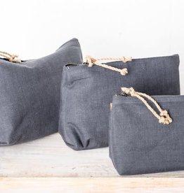 Linen Cosmetic Bag - Medium Charcoal