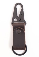 Charcoal Leather Clip Keychain