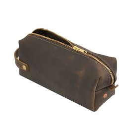 Dark Brown Leather High Line Medium Dopp Kit