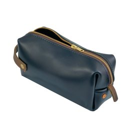 Black Leather High Line Medium Dopp Kit