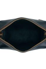 Black Leather High Line Medium Dopp Kit